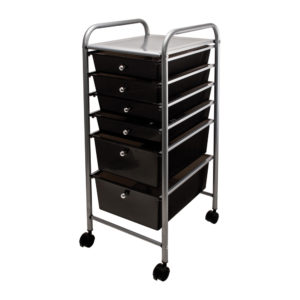 black six drawer organizer left angle