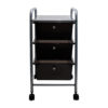 smoke colored three drawer organizer with wheels front view
