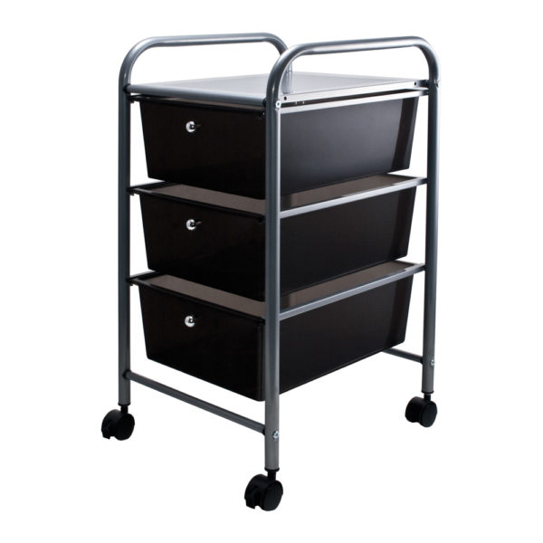 smoke colored three drawer organizer with wheels left view