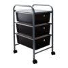 smoke colored three drawer organizer with wheels