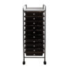 smoke colored ten drawer organizer with wheels front view