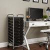 black ten drawer organizer in home office