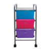 three drawer organizer with wheels front view