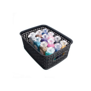 small weave bin with craft supplies