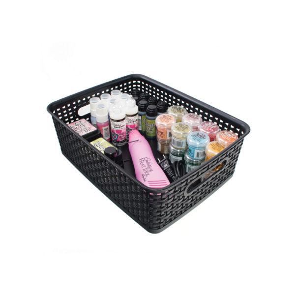 medium weave bin with craft supplies