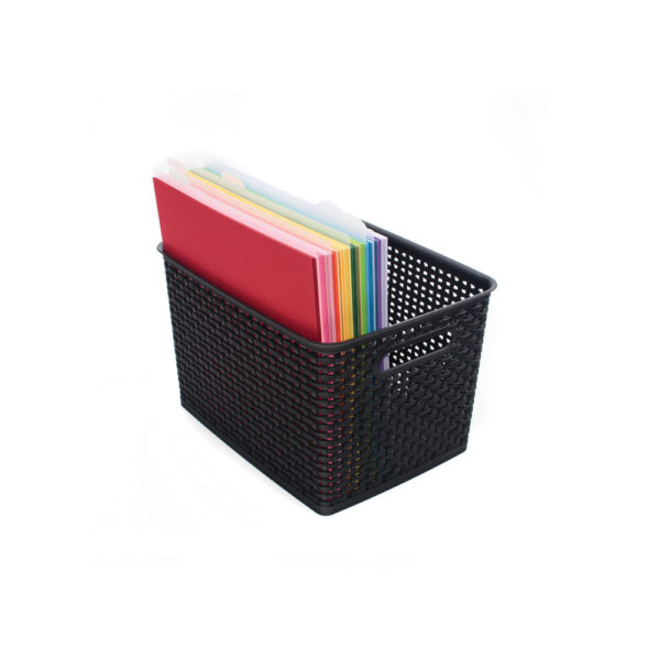 large weave bin with files