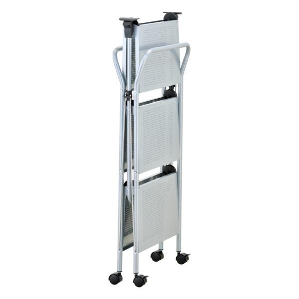 click-n-fold chrome cart folded