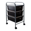 smoke colored three drawer organizer with wheels