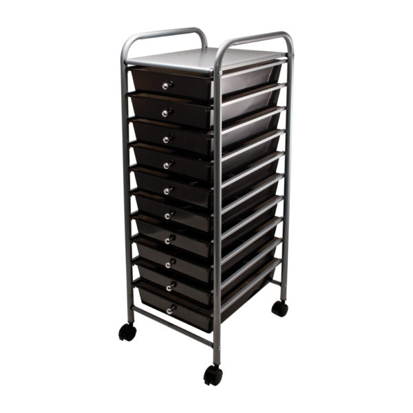 smoke colored ten drawer organizer with wheels left view