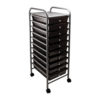 smoke colored ten drawer organizer with wheels