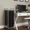 black ten drawer organizer in home office