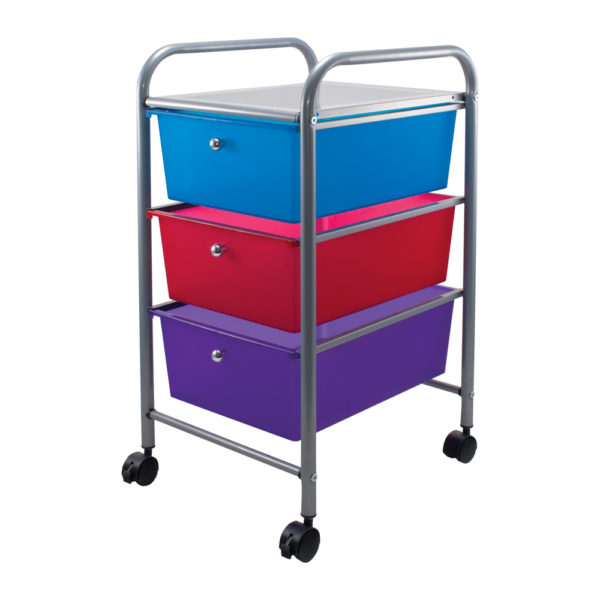 three drawer organizer with wheels left view