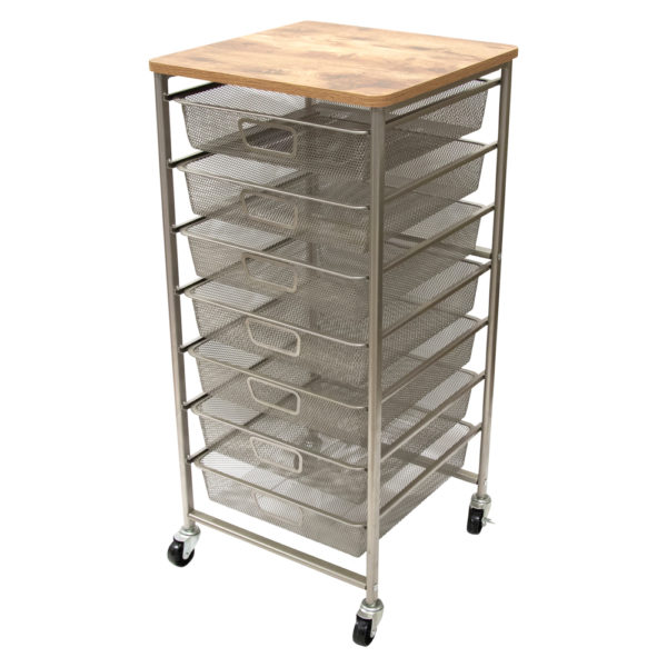 rolling organizer with wood top